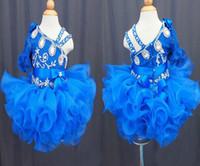 cupcake kid festzug kleid kurz groihandel-Wholesale neue 2017 eine schulter halbarm blaue spitze perlen bogen blume mädchen cupcake kleine mädchen pageant kleider kinder kleinkind
