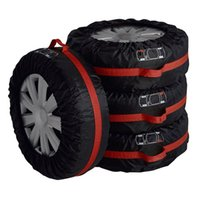 Wholesale 4 Tire Tote ELR cm Diameter Foldable Spare Tire Covers Protection Covers Storage Bags Wheel Cover for Car Off Road Truck Black Red