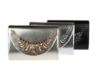 Wholesale Black Diamond Cocktail Evening Party - 1pc 2017 New Fashion Women Vintage PU Cocktail Party wedding Evening bag Shoulder Bridal Bridesmaid Clutch chain purse Handbag