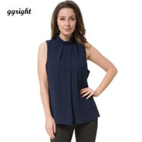 Wholesale Puff Shoulder Tops - 2017 Summer Chiffon Sleeveless Blouse top Causal Blouses ladies Shirts Blusas camisetas mujer off shoulder tops Plus Size 5xl