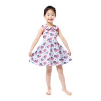 Wholesale Toddler Smocks - 4th of July Baby Girls Clothing Heart Pattern Western Girls Boutique Dress Summer Cotton Collar Girls Smock Dress Toddler Outfit