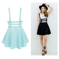 Wholesale Cute Suspender Skirts - Retro Hollow Mini Skater Cute Women Suspender Clothes Straps High Waist Skirt