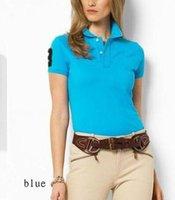 Wholesale Slim Woman Pink Shirt - Summer Fashion woman High quality Big Horse Embroidery Cotton Polo Shirt Women Casual Slim Fit Short Sleeve Polo Shirt Brand Clothing Summer