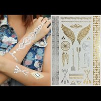 Wholesale Large Wings Tattoo - Wholesale-21cm*15cm Wing feathers jewelry sticker tattoo metallic golden flash tattoos tattoo large temporary tattoo prices sticker