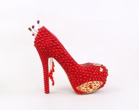 Red Pearls Women Pumps Chaussures de mariage de demoiselle d'honneur Princess Shoes Sexy Prom Evening Night Club Party Heels 14CM 097