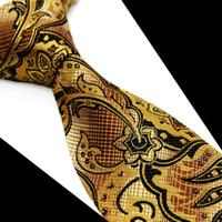 Wholesale Maroon Tie - T083 Yellow Gold Brown Maroon Floral Men's Ties Neckties 100% Silk Jacquard Woven Free Shipping Casual Business Formal Tie Wholesale