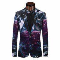 Wholesale Casual Wedding Suits Men Groom - Wholesale- Galaxy Printed Blazer Men Business Casual Suit Jacket Formal Groom tuxedos Wedding Dress Beautiful Design Men Suits Blazers