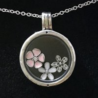 Wholesale Enamel Pendant Jewelry - Authentic 925 Sterling Silver Necklace Enamel Poetic Blooms Charm Locket Necklace Compatible With Pandora Diy Jewelry HKA4305