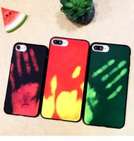 Wholesale Case Fluorescent - Matte PC Thermal Sensor Case Color Changing Fluorescent Thermal Heat Induction Phone Back Cover for iphone 7 Samsung S8