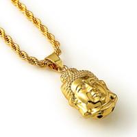 buddha gold halskette männer groihandel-JFY GOLD BUDDHA HALSKETTE Maxi Erklärung Halsketten Männer Gold Kette Buddha Kopf Anhänger HipHop Schmuck Für Frauen / Männer Großhandel