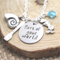 Wholesale pendants parts resale online - 12pcs Little Mermaid Necklace Part Of Your World Inspired necklace charm Neckace silver tone