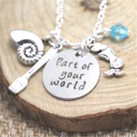 encantos de sirena de plata al por mayor-12pcs / lot Little Mermaid Necklace Parte de tu mundo Inspirado collar charm Neckace tono plateado