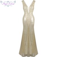 Wholesale Party Dresses Size 16 Womens - Angel fashions Womens Paillette Split Backless V Neck Applique Sweep Train Party Dress Ball Gown 282