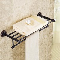 Wholesale Bar Towels - Classic Towel Bar Shelf Oil Brushed Holder Hardware Wall Mounted 2 Layer Antique Black Bronze Bathroom Accessories