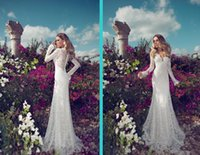 Wholesale Lace Vintage Wedding Dress Affordable - 2018 Julie Vino Lace Wedding Dresses V Neck Long Illusion Sleeves Mermaid Court Train Lace Custom Made Affordable Bridal Gowns