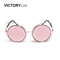 Wholesale- VictoryLip Round Cat eye 2016 New Pink Mirror Vintage Small Size Occhiali da sole per donna di marca Occhiali da sole alla moda per donna UV400