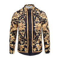 Wholesale Dress Chains Print - Wholesale- New Autumn Fashion Brand Men Colthes Slim Fit Men Long Sleeve Shirt Medusa gold chain print Shirts Men Casual Business Shirts