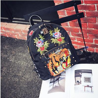 Wholesale Cloths Korean Man - Korean goods JTXS genuine shoulder bag female Korean version of the backpack tide cloth personality tiger head embroidery Oxford spinning ba