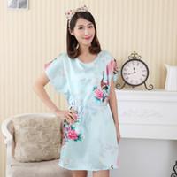 f9159f6c7c Wholesale- Hot Sale Chinese Women Faux Silk Robe Bath Gown Summer Lounge  Home Dress Print Sleepwear Sexy Nightgown Flower Plus Size WC095