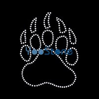 black heart outline - Outline Heart Paw Print Iron On Rhinestone Transfer Hotfix Motif Applique Strass