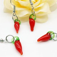 Wholesale Pepper Tins - Top Fashion Rushed Women Pendientes Mujer Brincos Oorbellen 20 Pair Chili Pepper Dangle Murano Lampwork Earrings Fashion