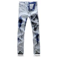 Wholesale Pants Dragon Prints - Wholesale-2016 real stripe hole straight mid white jeans homme new dragon printed jeans fashion men stretch slim printing denim pants