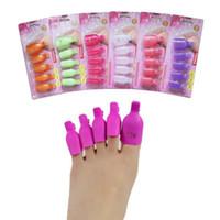 Wholesale Toe Nail Art Wraps - 5Pcs Plastic Foot Toe Nail Art Soak Off Cap Clip UV Gel Polish Remover Wrap Tool Hot different colors free ship