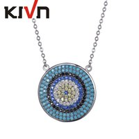 Wholesale Turquoise Tennis Necklace - KIVN Fashion Jewelry Spiritual Turkish Evil eye Pave CZ Cubic Zirconia Pendant Necklaces for Women Wedding Birthday Party Christmas Gift