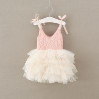 Wholesale Baby Girls Singlet Dress - 2017 Baby Girls Tulle Lace Dresses Kids Girls Princess tutu Dress Babies Singlet Party Dress Children's Spring Summer clothing