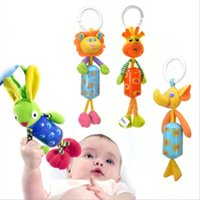 Wholesale Shape Animals Toy Car - Wholesale- Kids Baby Hand Bell Wrist Rattles Windbell Animal Shape Bed Car Hanging Bells Educational Infant Toys Plush Doll