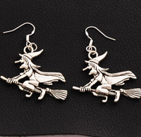 Wholesale Wholesale Witches Brooms - Witches On Broom Earrings 925 Silver Fish Ear Hook 20pairs lot Antique Silver Chandelier E224 52.6x37mm