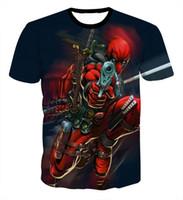 anime moda kıyafetleri toptan satış-2017 Yeni Tasarım Karikatür Anime Deadpool tişörtlü erkek Hipster 3d tişörtlü yaz Moda tees Streetwear tişörtleri marka giyim