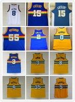 Wholesale Rainbow Jersey - Men's 55 Dikembe Mutombo 2 Alex English 0 Emmanuel Mudiay 35 Kenneth Faried Jersey Red White Black Blue Rainbow Throwback Basketball Jersey