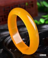 Wholesale Yellow Jade Bangles - Natural cat's eye light yellow jade bracelet 56-60mm Free shipping