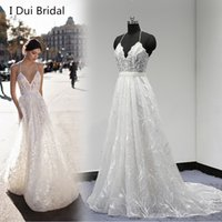 Wholesale Halter Court Train Wedding Dress - Unique Lace Wedding Dress Halter Low Back Pearl Beaded with Detachable Belt A Line Factory Real Photo 2017 New