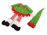 meilleur sapin rouge achat en gros de-Mode Chaude Décoration De Noël fournitures Polka Dot / rayure rouge Bouteille De Vin Couverture Sacs Pour Noël fête à la maison rouge Bouteille De Vin décor