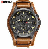 Wholesale Curren White - Mens Watches Top Brand Luxury CURREN 8225 Watch Men Casual Military Sport Analog Quartz Watch Male Waterproof Leather Montre Homme