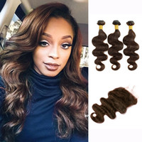 Wholesale Dark Brown Brazilian Extensions - 3 Bundles With Lace Closure Color 2 4 Dark Brown Body Wave Hair Bundles Raw Virgin Indian Brazilian Peruvian Cambodian Human Hair Extensions