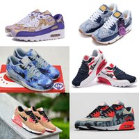 Wholesale Cheap Art Flowers - 17 color New Air Cushion 90 Low Running Shoes For Men Women Cheap AM 90 Sport Shoes Flower Art Trainers Sneakers Eur 36-45