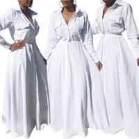 langes weißes tunika-kleid großhandel-Frauen Fashion Turn-down Collor Tasten unten weißes Kleid Fronttaschen hohe Taille große Schaukel Schlank Tunika Maxi lange Kleider