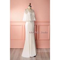 Wholesale White Bolero Shirt - 2017 Ivory Mermaid Wedding Dress with Lace Bolero Sweep Train Chiffon Wedding Dresses Bridal Gowns Cheap (wedding dress+lace bolero)