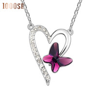 ingrosso collane di cristallo di alta qualità-2017 new Una vera e propria ciondoli high-end all'ingrosso utilizzando SWAROVSKI Elements Crystal Necklace Heart Butterfly sale