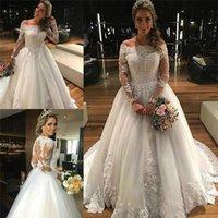 Wholesale Dress Wedding Aplique - Elegant Off Shoulder Long Sleeves Wedding Dresses Vintage Aplique Lace Wedding Gowns Sweep Train Long Bridal Dress Custom Made