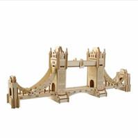 Wholesale Tower Bridge Model - Free Shipping !!! 3D Jigsaw London Tower Bridge Woodcraft Assembly Handcraft Home Decor DIY Model Puzzle IQ Challenger