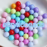 ingrosso fascino acrilico diy-6MM 200pcs No Hole Opaco Solid Pastel Beads Gumball Acrilico Palle rotonde DIY Craft Making Charms