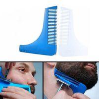 Wholesale Trimmer Line Wholesale - Beard Bro Beard Shaping Tool Styling Sharper Comb Men Perfect Lines Facial Hair Beard Trim Template Modelling Tools 10 Colors Stock