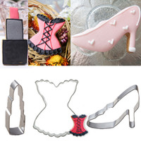 Wholesale High Heel Cookie Cutter - 3pcs Lady skirt High-heeled shoes Lipstick cookie cutter metal biscuit mold bread sandwich mould fondant cake decorating tools