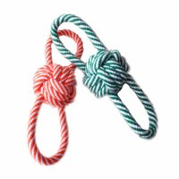 Wholesale Cotton Ball Cat Toy - Cotton Meteria Colorful Rope With Ball Pet Toy Cat Dog Chew Teethers For Cleaning Teeth Good Quality For Small Middle Pets Size 50PCS LOT