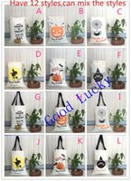 Wholesale Cotton Bond Paper - Wholesale-Free shipping 10pcs lot Halloween gift candy bags kids & adults spider pumpkin Treat or Tricky cotton canvas drawstring bags