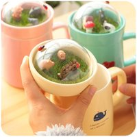 Wholesale Top Quality Bone China - Wholesale- Top Quality Lovely Bone China Ceramic Cute Totoro Cartoon Style Children Thermos Outdoor Water Cup 400ml Colorful Mugs Cups